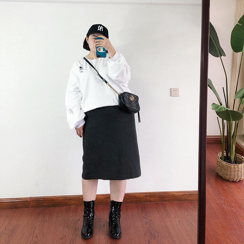 2018秋季新款加大码女装200斤胖mm韩版潮流侧开叉针织包臀半身裙