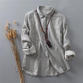 复古纯色棉纱打底港风春款翻领衬衫