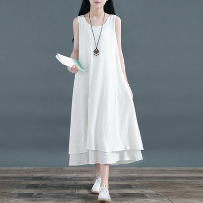 中国风无袖双层裙子棉麻大摆裙亚麻长款打底连衣裙文艺范背心长裙