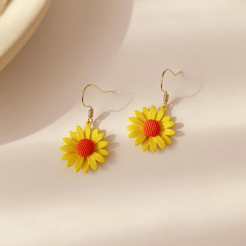 黄色花朵耳环韩国气质花瓣网红超仙小雏菊耳饰小耳坠精致超仙短款图片