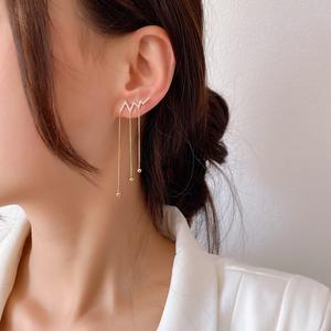 水晶流苏2020年新款潮韩国气质耳环