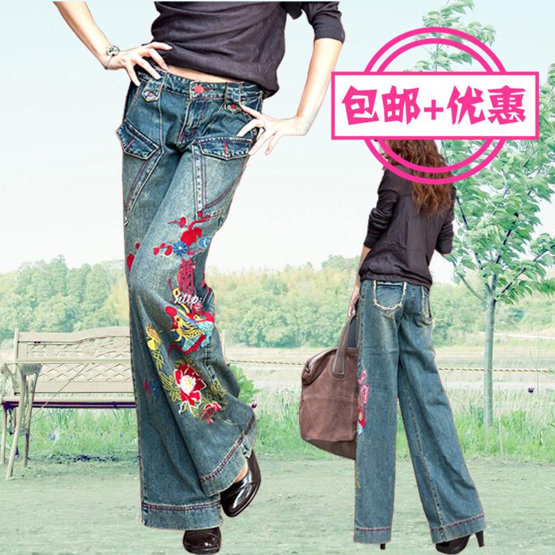 现货包邮兰桂坊 新款民族风复古绣花牛仔裤 女刺绣阔腿裤大码女裤