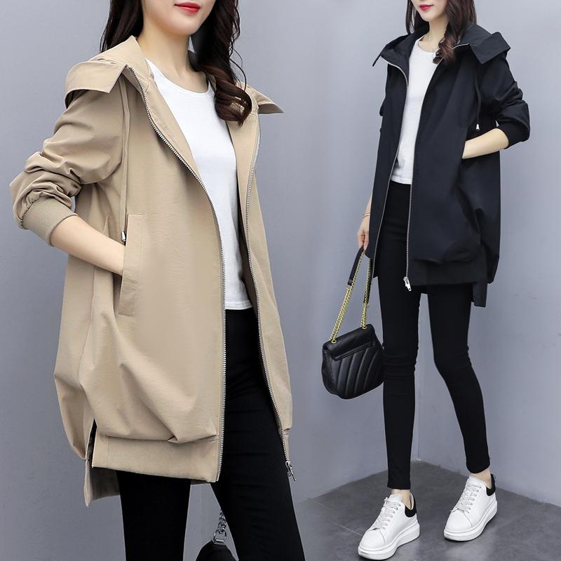 2020春秋新款韩版休闲气质卡其连帽风衣女中长款宽松黑色短外套