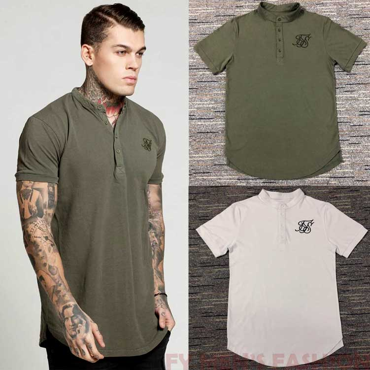 Summer mens short sleeve T-shirt fashion stand collar front cardigan button T-shirt short sleeve professional work clothes business