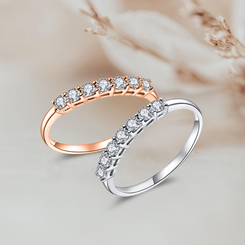 协隆珠宝工厂店  钻戒女群镶彩金排戒钻石戒指排钻18K金戒指定制