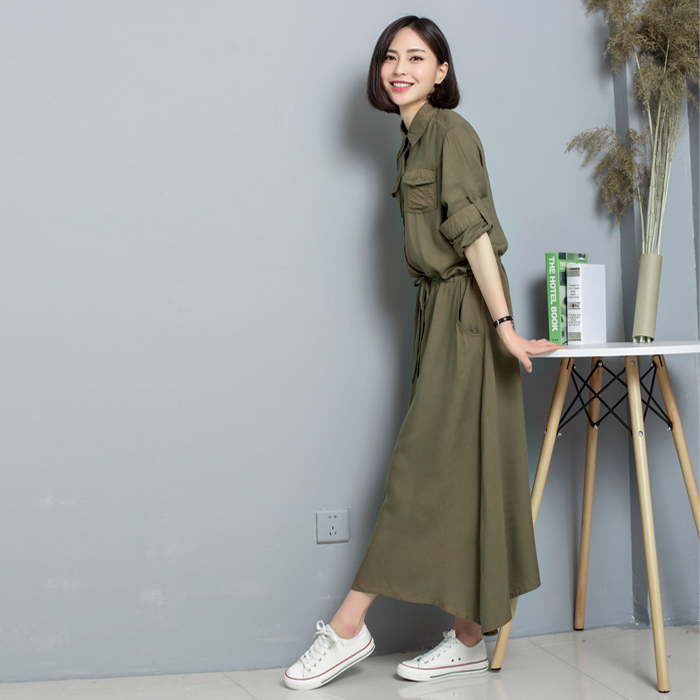 Spring lace up pure cotton small fresh literary style dress retro elastic waist solid school style long skirt
