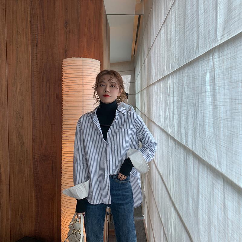 MOMO法式极简衬衫竖条纹女长袖2019秋冬衬衣设计感小众复古上衣潮