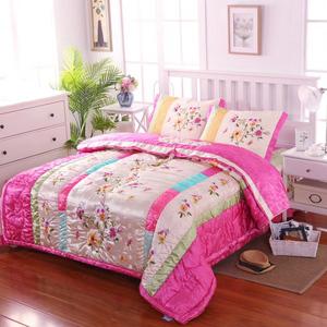 韩国民俗刺绣可拆洗冬被子双人床盖三件套结婚庆用铺盖四件套床罩