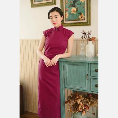 Momo cheongsam spring and summer small sleeves half-opening long style retro daily solid color linen cheongsam plum wine