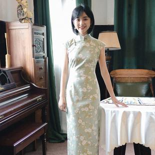 茉茉旗袍春秋 小连袖侧拉链中长款 复古日常印花亚麻旗袍 青梅