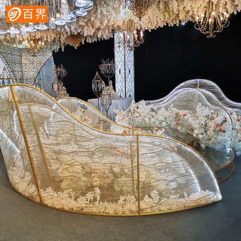 百界新款婚庆道具铁艺贴纱路引婚礼圆形T台装饰摆件舞台现场布置