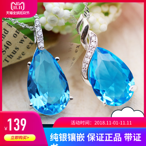 Japanese and Korean S925 silver jewelry Swiss sapphire Drop Pendant Crystal natural Topaz Necklace Pendant for women
