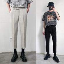 品質薄款垂感九分西褲男生夏季男士韓版潮流休閑褲修身小腳西裝褲