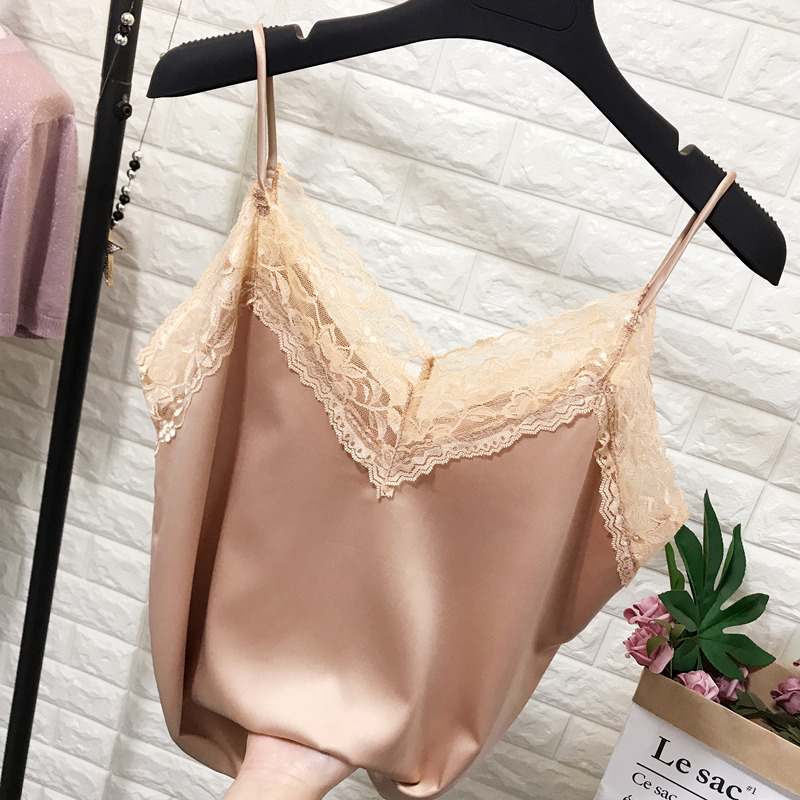 Spring and summer lace V-neck Chiffon suspender vest silk satin smooth sleeveless bottom top with top