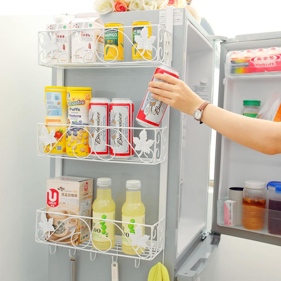 鐵藝冰箱掛架側壁掛冰箱架廚房置物架收納架冰箱側邊調味架