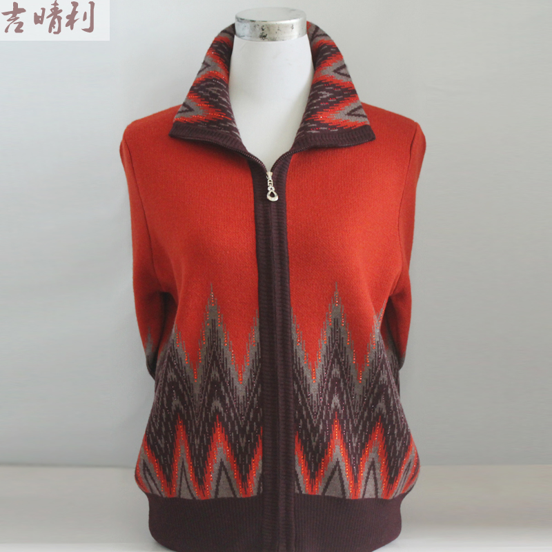 Middle aged womens sweater middle aged and old womens clothing spring and autumn foreign style coat mother cashmere cardigan short size