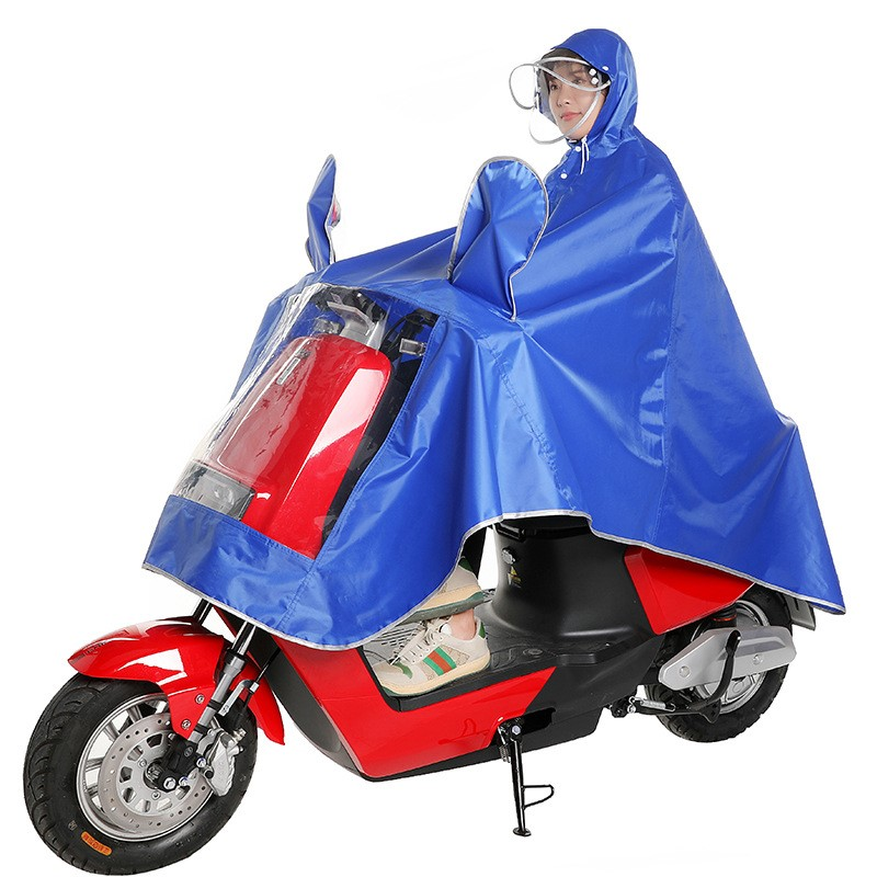 Heavy rain proof double brim electric car poncho outdoor tricycle battery car raincoat