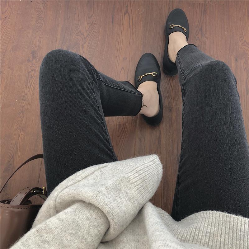 弹力牛仔裤女大码九分胖mm烟灰色2020春季新款长裤子高腰显瘦小脚
