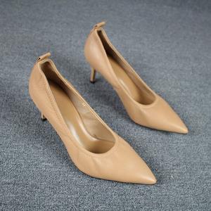 欧洲站新胎牛皮ol女鞋细跟浅口尖头工作鞋真皮高跟鞋软皮鞋单鞋女