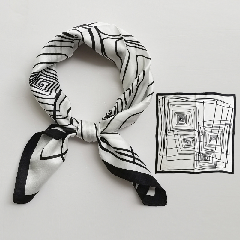 Black and white striped scarves silk scarves spring and autumn small square scarves womens professional versatile mulberry silk small scarf mens trend in Korea
