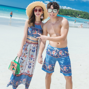 2019 new couple swimsuits beach pants split swimsuit women's three-piece suit beach vacation suits gathered swimsuit