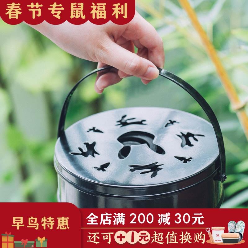 树可 铁艺蚊香盒带盖家用防火创意蚊香盘托 户外便携式防蚊香薰炉