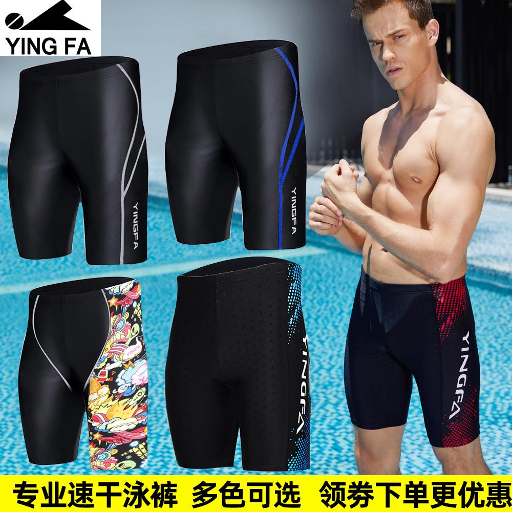 英发泳裤游泳裤男士长五分专业速干泳衣竞速运动大码泳装成人印花