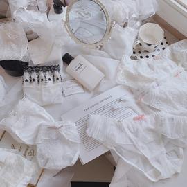 【白色蕾丝】内裤女蕾丝性感中腰夏季薄款网纱半透明少女可爱日系