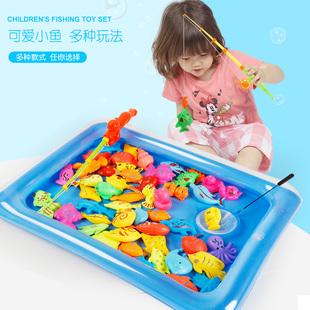 兒童磁性小貓釣魚玩具池套裝小孩男孩女孩寶寶益智1-2-3-5-6週歲