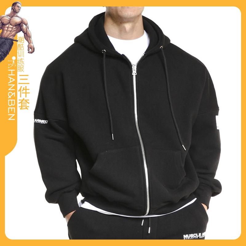 Fashion trend mens new sportswear casual running training loose thin zipper shirt Hooded Jacket