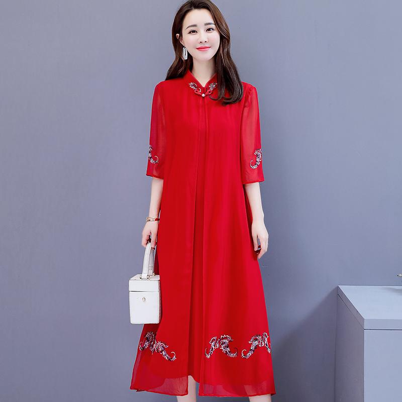 12-07新券新式旗袍妈妈中年中国风两件套装连衣裙子结婚夏季气质洋气漂亮老