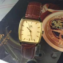 国产品牌手表原装库存机械老表方形复古怀旧经典腕表金色机械表