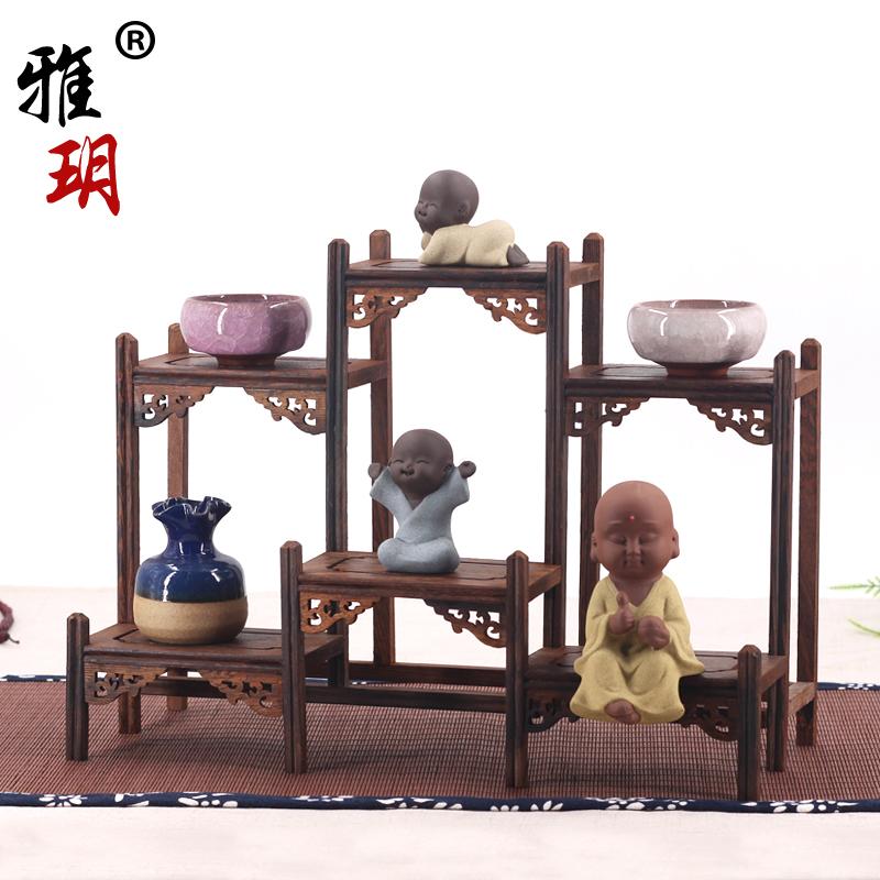 红木博古架实木多宝阁格陈列架子中式摆件紫砂壶鸡翅木茶壶具小型