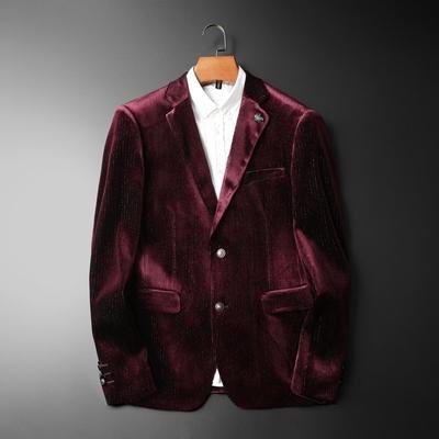 男式西装2019秋冬新款灯芯绒小西服男士韩版修身西装外套777-P165