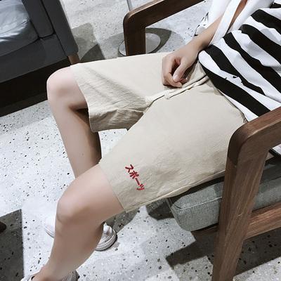 夏季潮流棉麻短裤 男士字母刺绣沙滩裤五分裤DK118P25