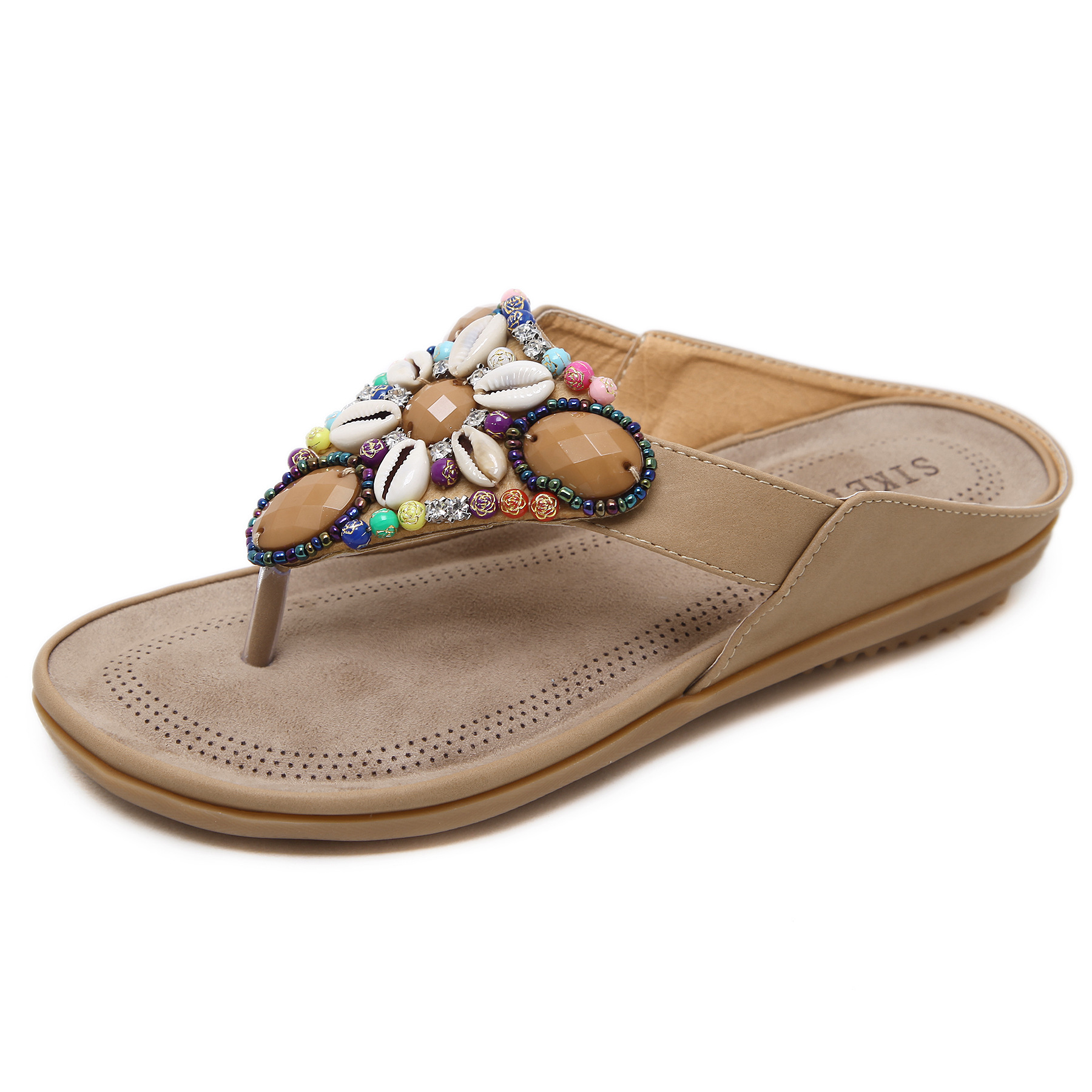 Sandals flat bottomed wear ethnic style clip toe sandals Bohemian Beaded large SANDALS BEACH SHOES flip flop