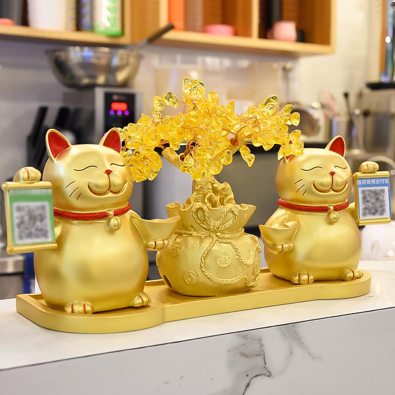 招财猫摆件创意开业礼品店铺收银台装饰二维码支付牌新店开张礼物