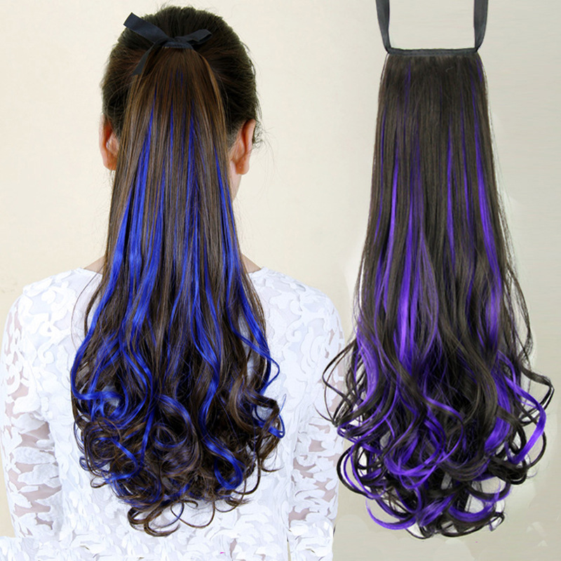 Light dyed wig can tie high ponytail, childrens color, medium length, curly hair, tail strap, big wave, natural temperament