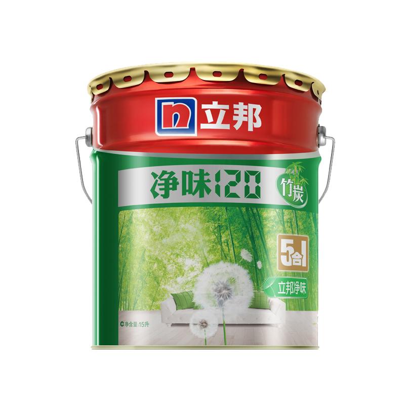 立邦漆 淨味120竹炭五合一室內油漆塗料 白色內牆牆麵漆乳膠漆15L