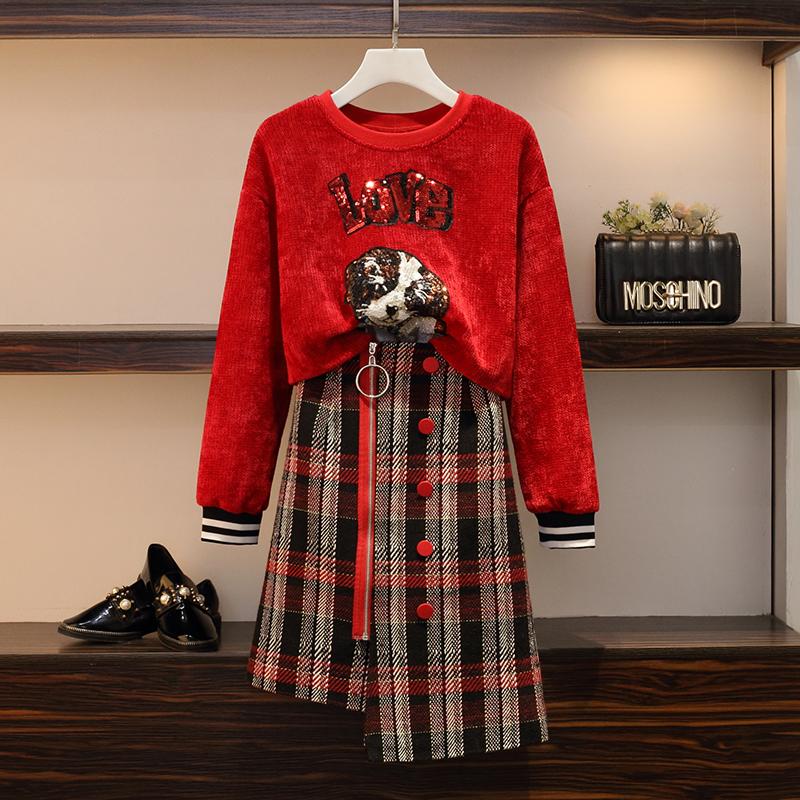 微胖妹妹秋冬网红显瘦卫衣加大码女装心机遮肉洋气两件套装半身裙
