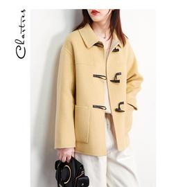牛角扣短款双面呢外套女2020春装毛呢羊毛双面尼双面羊绒大衣黄色