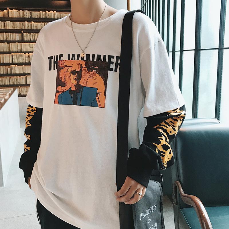 港风秋季新款个性涂鸦长袖男t恤热销552件有赠品