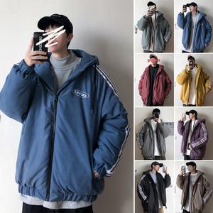 子俊男装冬季条纹连帽棉衣韩版宽松加厚保暖面包棉服运动棉袄外套