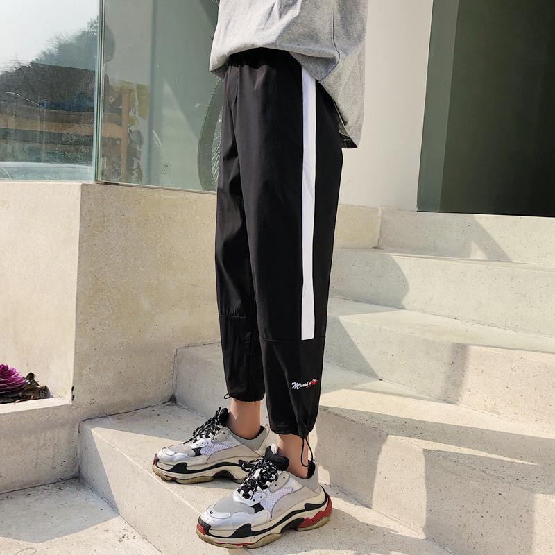 港风夏季新款运动九分裤男生松紧腰撞色小脚裤子韩版束脚哈伦裤潮