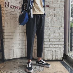 透气黑色裤 新款 潮流学生百搭直筒九分裤 韩版 子 港风夏季 男士 休闲裤