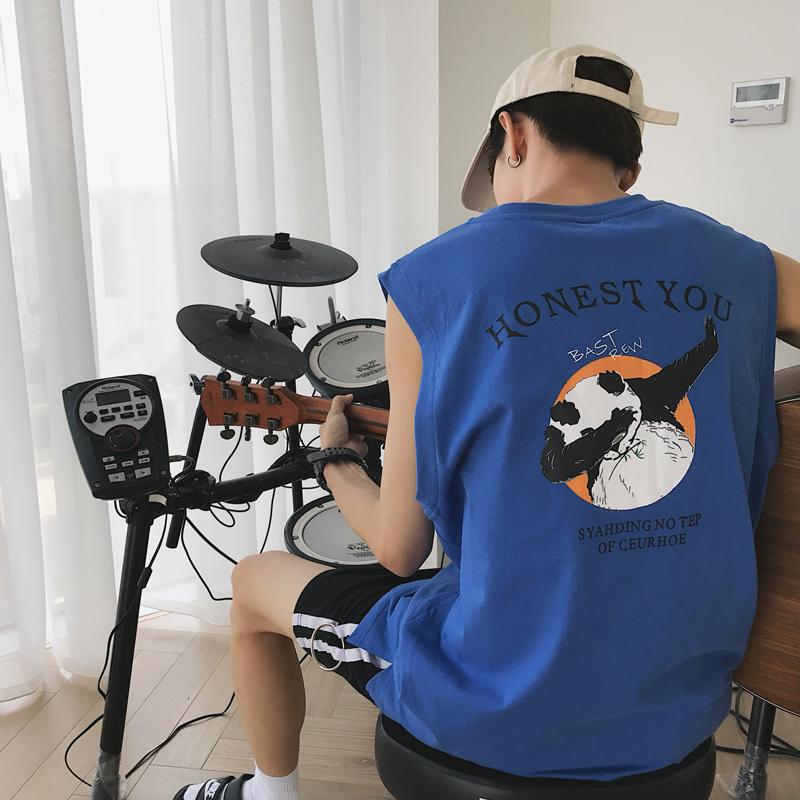 港风夏季新款嘻哈卡通无袖T恤男士韩版宽松坎肩汗衫学生运动背心