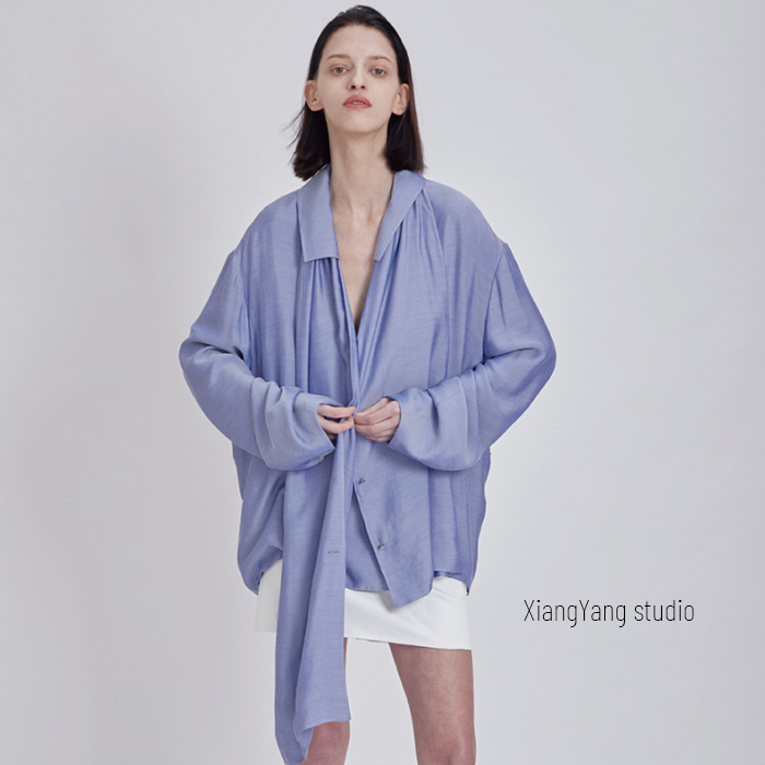 Korean fashion brand label 21 early spring scarf wrapped loose Long Sleeve Shirt