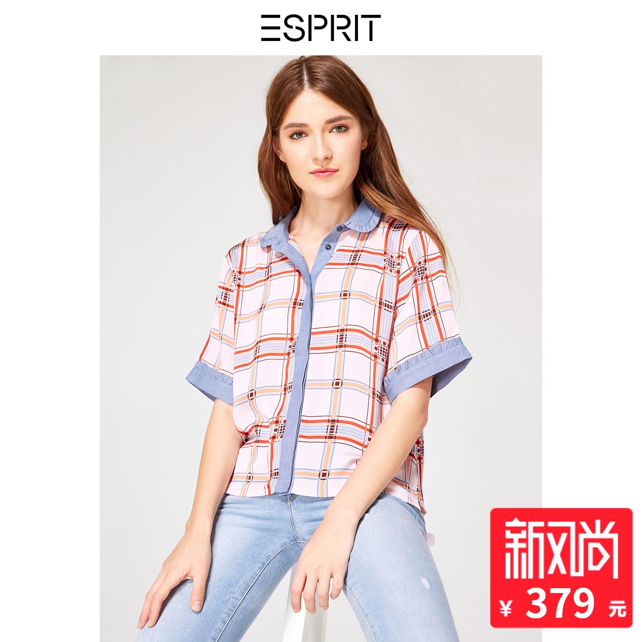 ESPRIT 女装2018秋拼接荷叶边格子短袖衬衫女-078EO1F017