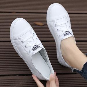 真皮小白鞋女2021平底休闲鞋秋板鞋