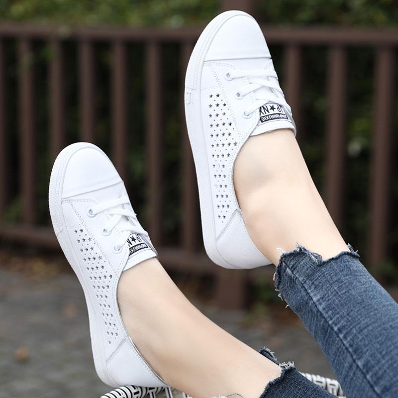 透气小白鞋平底百搭休闲板鞋2020新款春夏季镂空真皮单鞋大码女鞋图片